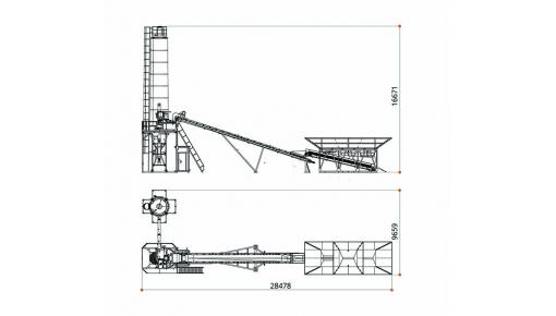 Габаритні розміри бетонного заводу БЗУ «БАЗАЛЬТ-60Д»