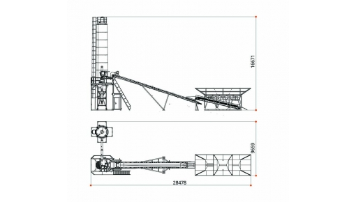 Dimensional drawing of concrete plant «BASALT-60»