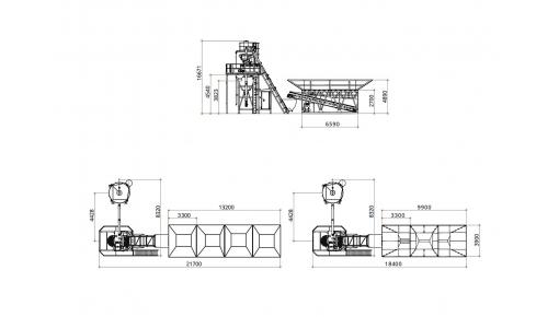 Бетоносмесительная установка «ГРАНИТ-60Д» габаритные размеры, чертёж
