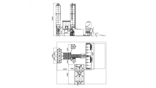 Габаритне креслення бетонного заводу «БАЗАЛЬТ-100»