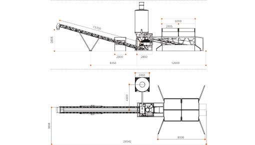 Мобильная бетоносмесительная установка «КАРБОН-38» габаритный чертёж